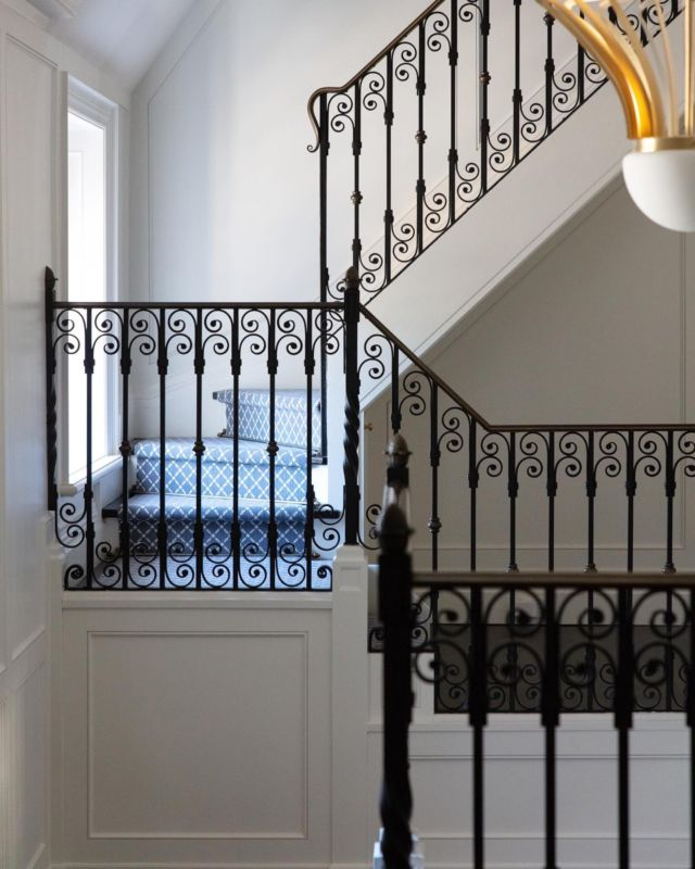 This staircase from project Rosewood, embodies the elegance and history of a historic Parisian home. We gave this space some dramatic flair with a black and bold iron stairwell for a continuous graceful curve.  Staircases deserve just as much decorative consideration and design and as the rest of the home. Staircases make for ideal spaces for grand windows, moldings, modern wallpaper, unique runners or an artful collection. These are brilliant ways to add personality to staircases.   Visit our website, link in bio, to discover our collection of over 15 exclusive residential projects. Some of them include our all-time-favorite staircase designs and ideas that will help you plot out your own grand entrance.  www.dvira.ca  .  .  .  .  #dvirainteriors #luxurylifestyle #staircase #torontointeriors #frontentrance #interiorsofinstagram #staircaseproject #interiorvibes #luxurydesign #mansion #mansiondesign #interiorinspo #interiordesign #luxuryinteriors #designerofluxury #homeluxury #foresthillhome #kleinburg #staircaserenovation  #stairsathome #homeinspiration #staircasereno #luxuryhomes #kleinburg #stylishhome #parisianhome #frenchinteriors #frenchdesign